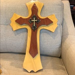 "19"" Handmade Wood Double Cross Gold & Black"